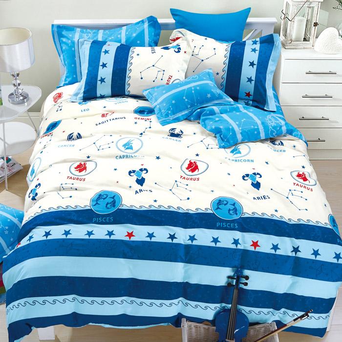 特賣-【FOCA-星座調色盤】單人精梳純棉兩用被床包組(贈同尺寸保潔墊)