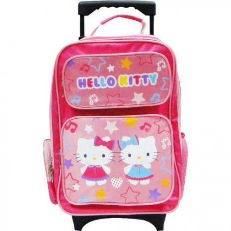 Hello Kitty 閃光輪摺疊拉桿書包(雙KT)