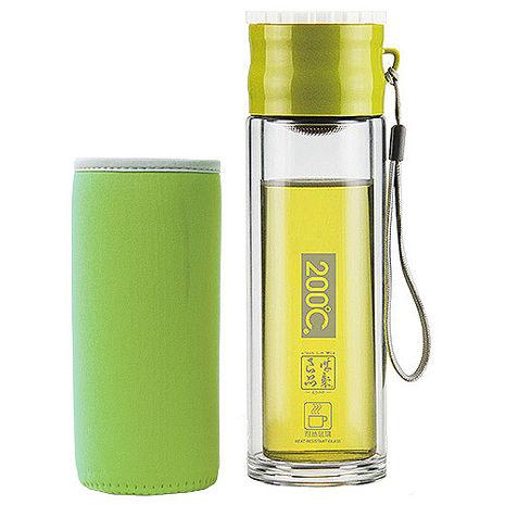 Artist 雙層耐熱附杯套不鏽鋼玻璃泡茶杯/隨身瓶260ml-特賣