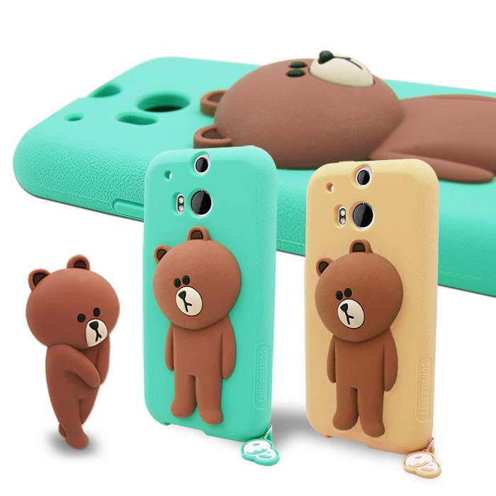LINE原廠- HTC ONE M8 專用BROWN 熊大 矽膠保護殼