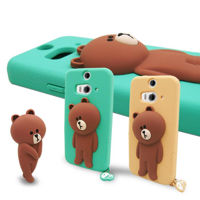 LINE原廠- HTC Butterfly 2 專用 BROWN熊大 矽膠保護殼