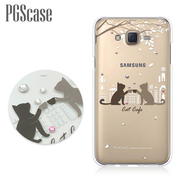 PGS Samsung Galaxy J7 奧地利彩鑽手機殼-午茶貓咪
