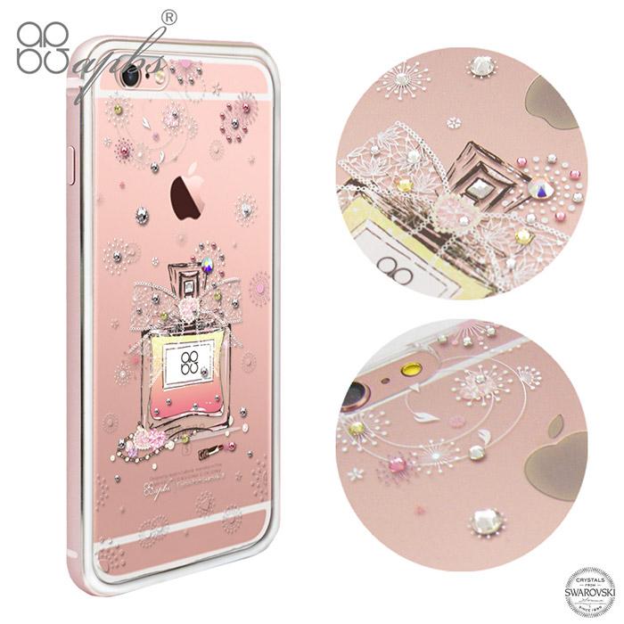 apbs APPLE iPhone 6s/6 & 6s Plus/6 Plus 施華洛世奇彩鑽金屬框手機殼-玫瑰金維也納馨香