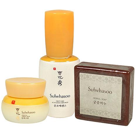 Sulwhasoo雪花秀 宮中蜜皂(70g)+潤燥精華EX(30ml)+彈力緊顏霜(25ml)