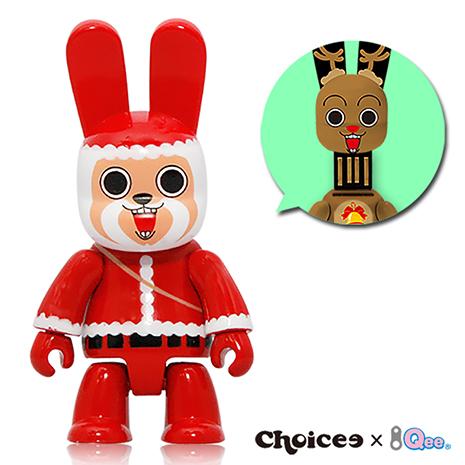 《超值2入組》Choicee x Qee 限量款聖誕節8GB Bunee隨身碟-聖誕潮老人+迷路麋鹿