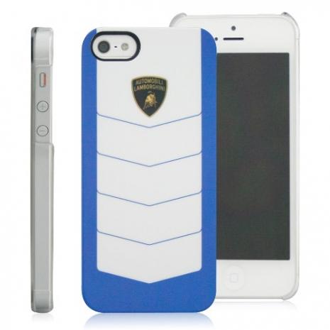 義大利Lamborghini藍寶堅尼授權 CORSA iPhone 5/5s/SE 保護殼(藍+白)