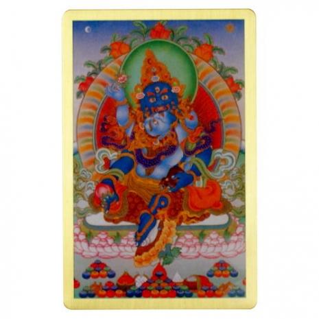 綠財神-隨身護身卡/唐卡-銅箔(PBC048)