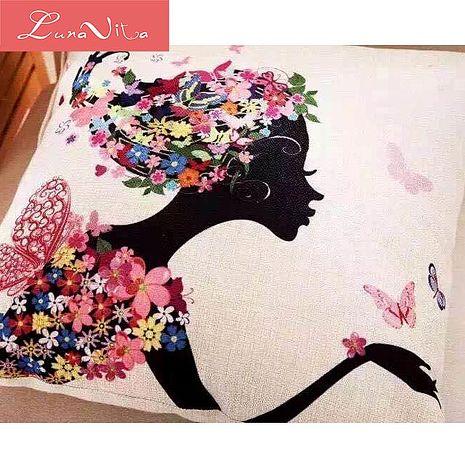 Luna Vita 居家簡約風采棉麻 靠枕/抱枕-美麗俏佳人