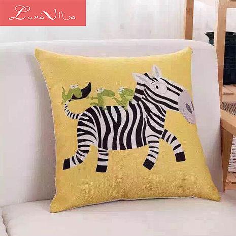 Luna Vita 居家簡約風采棉麻 靠枕/抱枕-斑馬