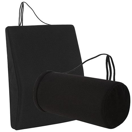 【源之氣】竹炭透氣記憶可調式腰墊+竹炭萬用圓柱護腰 (9447+9453)