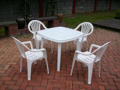 Brother Club~兄弟牌歐式風情~白色塑膠椅+塑膠方桌