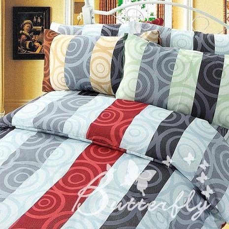 【BUTTERFLY】漩渦空間-紅 單人枕套床包兩件組(特賣)