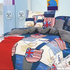 ~BUTTERFLY~柔絲絨 雙人枕套床包三件組 ^(英倫凱蒂~藍^)^( 價^)