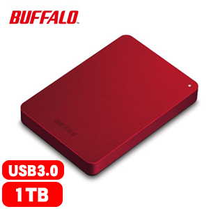 BUFFALO巴比祿 HD-PNFU3 2.5吋 1TB 防震加密 行動硬碟 紅