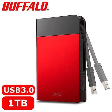 BUFFALO 2.5吋 1TB 軍規防震加密行動硬碟 紅 HD-PZFU3