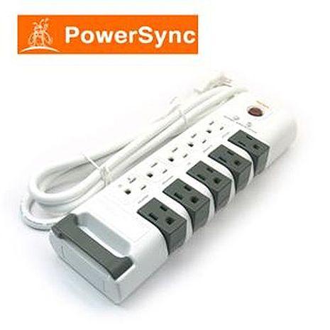 【10月精選-限時特惠】PowerSync群加 PWS-ERT1018 十孔旋轉防雷擊延長線 (1.8)