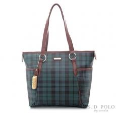 ~Sandia Polo~ 復古綠格紋~優雅拼接剪裁托特包~側肩包