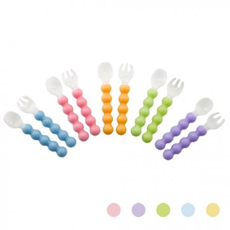 【Babytiger虎兒寶】SIM PLA 玉米田無毒環保餐具 嬰幼童糖葫蘆叉匙組 五色