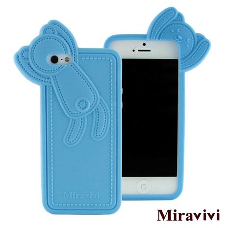 Miravivi iPhone 5 動物狂想曲系列立體熊保護套-天空藍