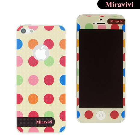 Miravivi iPhone 5 繽紛巧克力豆豆時尚雙面彩繪保護貼-白巧克力