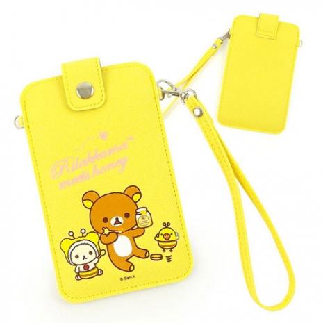 Rilakkuma 拉拉熊/懶懶熊 5吋通用彩繪皮革手機袋-甜甜蜂蜜熊
