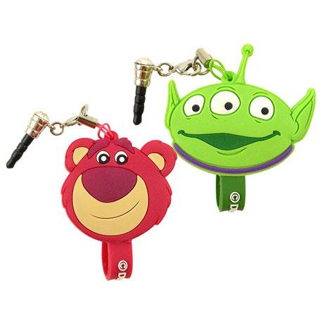 Disney 可愛造型耳機防塵塞吊飾捲線器-熊抱哥/三眼怪