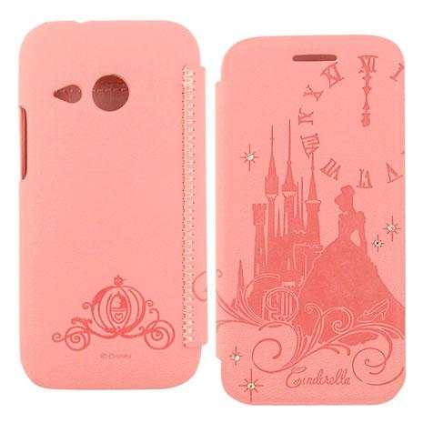 Disney HTC One mini 2 公主系列Cinderella灰姑娘時尚水鑽壓紋皮套