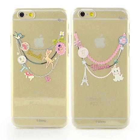 Disney iPhone 6s/6 彩繪現代風透明保護硬殼-手鍊斑比/手鍊瑪麗貓