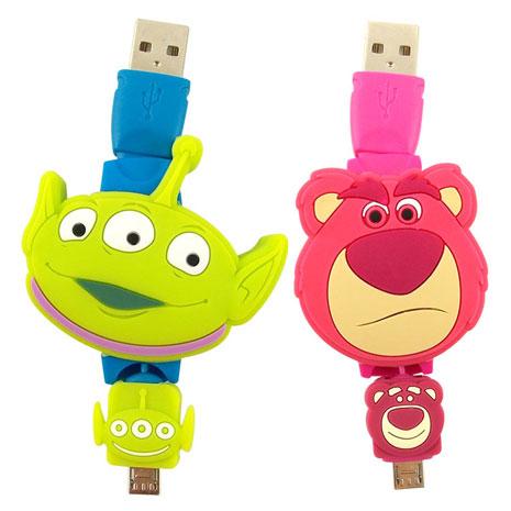 Disney Micro USB 玩具總動員TOYS造型伸縮傳輸線-三眼怪/熊抱哥