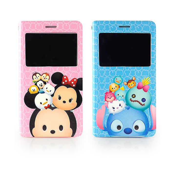 Disney Samsung Galaxy Note 4 TSUM TSUM 透視視窗彩繪可立式皮套