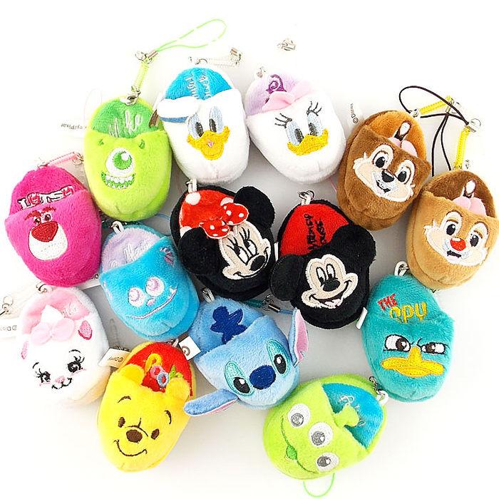 Disney 可愛絨毛拖鞋造型耳機防塵塞擦拭布