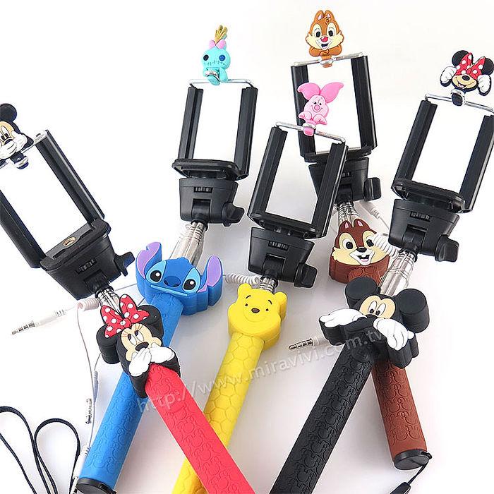 Disney 立體造型伸縮線控自拍棒/自拍神器(不需充電)-經典系列
