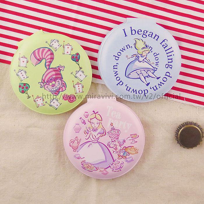 【Disney】迪士尼愛麗絲夢遊仙境.妙妙貓圓型輕巧隨身鏡/雙面鏡