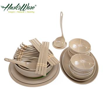 【Husk's ware】美國Husk's ware稻殼天然無毒環保碗盤餐具32件組