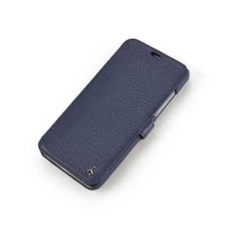 Story皮套王- HTC Butterfly 蝴蝶機 硬殼式側翻 粗荔枝紋深藍 925銀飾 現貨皮套 03325-117