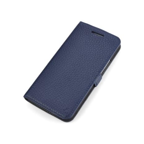 Story皮套王- New HTC One 純牛皮折疊式側翻 荔枝紋深藍色現貨 03426-117
