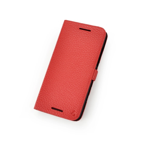 Story皮套王- HTC Butterfly S 純牛皮折疊式側翻 荔枝紋紅色現貨 03780-113