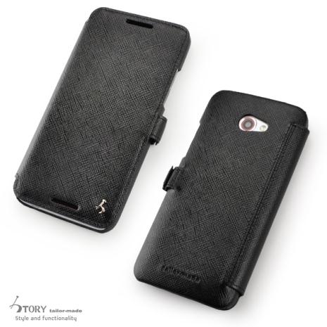 Story皮套王- HTC Butterfly S 硬殼式側翻 925銀飾 十字紋黑色現貨 03898-30