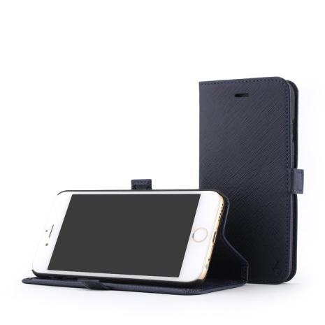STORY皮套王- APPLE iPhone 6 / 6S 摺邊折疊式 十字紋藍現貨皮套 05117-154