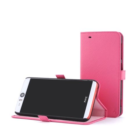 STORY皮套王 HTC Desire EYE 摺邊折疊式 十字紋淺粉紅現貨皮套 05740-39