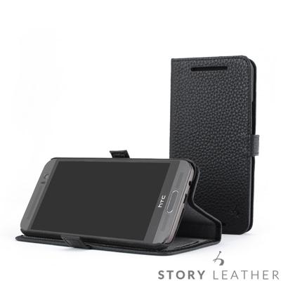 STORY皮套王 HTC M9+ 摺邊折疊式 荔枝紋黑現貨皮套 06519-109