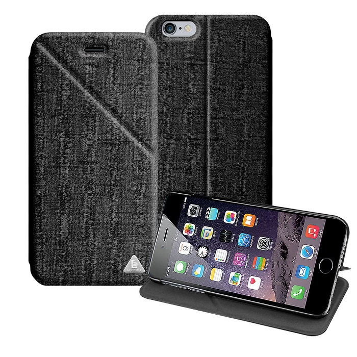 LUCCIDA Apple iphone6 4.7吋 三角易拍隱形磁吸超薄立架皮套-黑