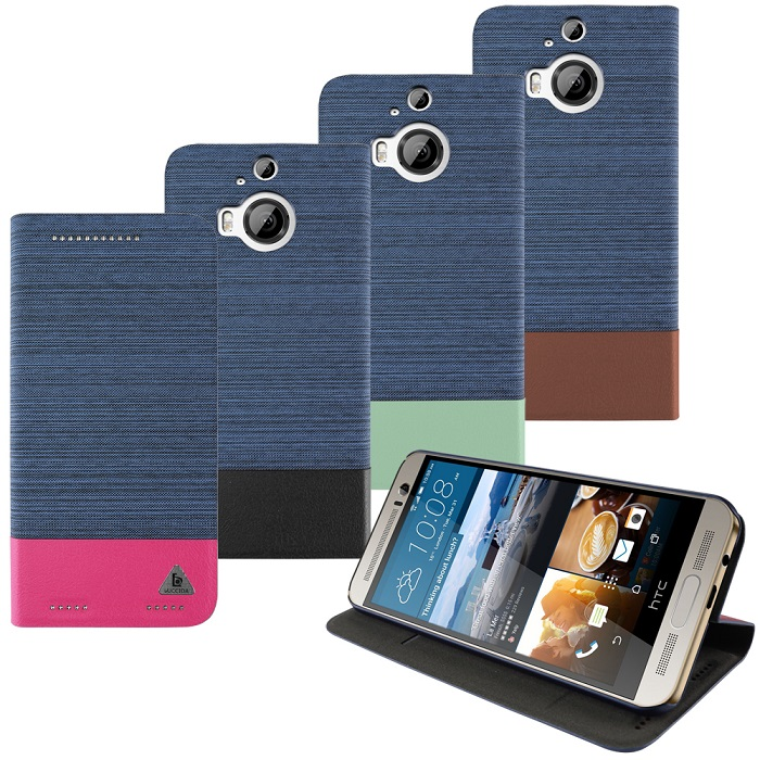 LUCCIDA HTC One M9+ 類單寧布撞色隱磁可站立皮套牛仔藍+湖水綠