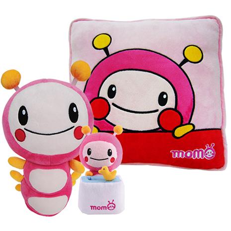【MOMO】特價組合(13吋momo玩偶+12吋momo方型抱枕+7吋置物座)
