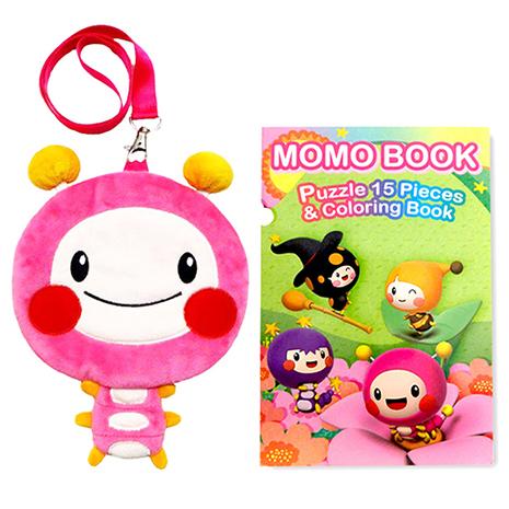 【MOMO】MOMO BOOK彩繪拼圖三折本+8吋momo票卡零錢包