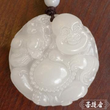 【菩提居】天然白玉彌勒佛戲貔貅吊墜(招財必備 加碼珠繩)