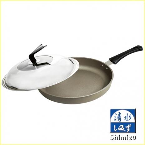 【Shimizu清水】星鑽奈米陶瓷不沾平煎鍋 33CM 有蓋