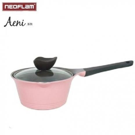 [APP新降價] 韓國NEOFLAM Aeni系列 16cm陶瓷單把鍋+玻璃鍋蓋(粉色)
