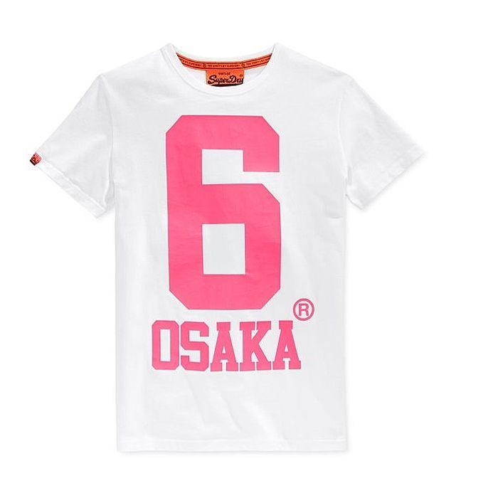 ☆限期優惠69折☆superdry 極度乾燥 men t-shirts Osaka 6 T恤 (白底粉色6印花) 官網訂價NT2250