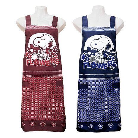 史努比SNOOPY兩口袋圍裙HB503花-藍紅二入任組藍+紅